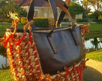 Woven and leather portfolio