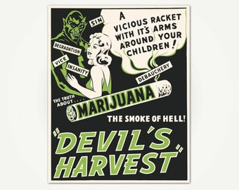 Devil's Harvest Vintage Cannabis Movie Poster Print - Cannabis Poster Art