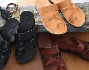 leather sandals, leather slippers, women slippers, men slippers, greek sandals, handmade slippers, women mule, flat sandals, brown sandals,