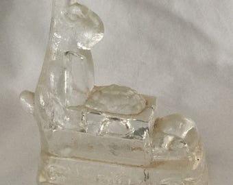 Antique Rabbit Pushing Wheelbarrow Glass Candy Container