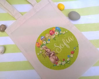 Tote bag Easter customizable to harvest eggs 26 x 18 cm Ecru canvas