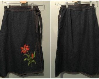 Vintage 1970s Denim Wraparound Skirt with Hand Painted Flower - Size 6