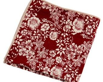 Men's Red FloralPocket SquareWedding Handkerchief,Groomsmen ,Father Gift,Boyfriend,Gift,Party,Vintage,White,Wedding Accessories,Graduation