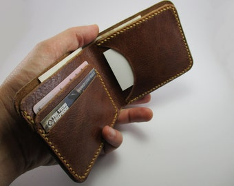 Man wallet. Portafogli Taschengeld Brown leather wallet