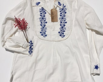 70s Boho Embroidered Hippie Top
