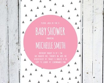 Baby Shower Invitation Girl, Geometric, Triangle, Pink, Grey, White, Modern, Printable, Printed