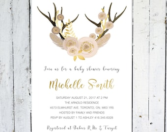 baby shower invitation girl antlers gold pink purple floral boho