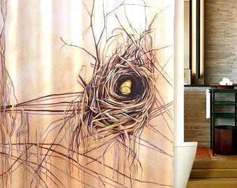 nature themed nest and yellow butterfly designer shower curtain natural and neutral colors