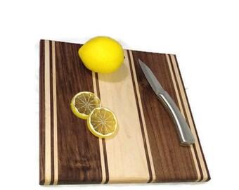 Walnut and Maple Cutting Board, Black walnut chopping block, Cheese board, walnut cheese board, Walnut serving tray