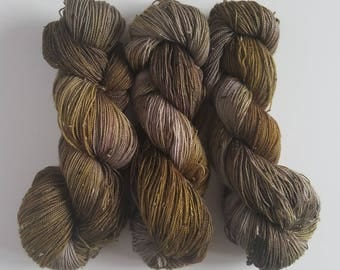 DRIFTWOOD- Hand Painted Tweed Sock Yarn- Hand Dyed Superwash Merino NEP- 438 yards