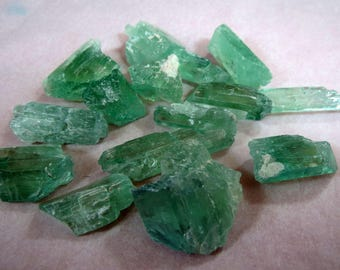 15 pieces Green natural kunzite crystals PL