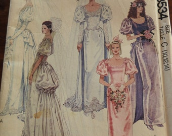 McCalls 3534 Women's Vintage Classical Brides And Bridesmaids Gowns Sewing Pattern
