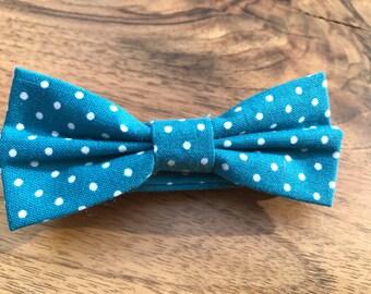 Boys Bow tie - Turquoise polka dot - Bow tie for boys - baby bow tie - Wedding bowtie - Boys 1st Birthday bow tie - Kids Bow Ties