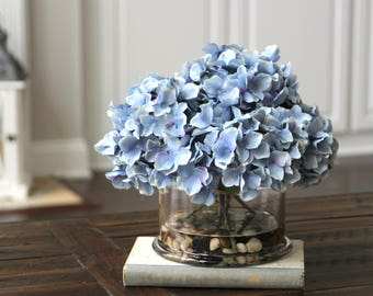 Silk Floral Arrangement, Summer Floral Centerpiece, Blue Hydrangeas in a Glass Vase with Faux Water and Decorative Rocks