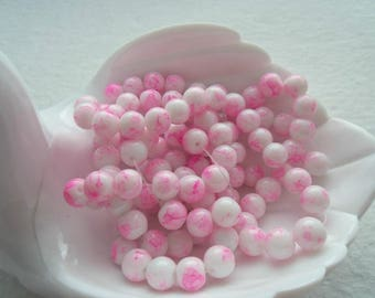 Double Strand of 8 mm Glass Beads, Spray Painted Mottling - Pink (1359)