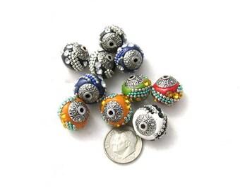 10 Handmade Indonesian Kashmiri Beads 15mm (b3m3/s5A)