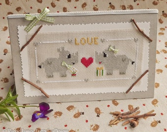 Romantic Little Rhinos Valentine's Day Card Cross Stitch Pattern PDF | Easy | Modern | Beginners Counted Cross Stitch | Instant Download