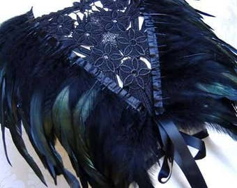 GOTHIC 3 in 1 BLACK FEATHER shrug,  steampunk feather shrug, victorian jet black coque feather boa, shrug, bolero, shawl, burlesque wrap
