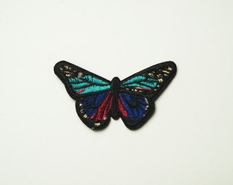 Green Butterfly Embroidered Sew On Patch Applique