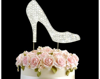 Rhinestone Crystal Birthday Wedding Anniversary Cake Topper Number Pick Silver Heel Shoe Diamante Gems Decoration - Silver High Heel Shoe