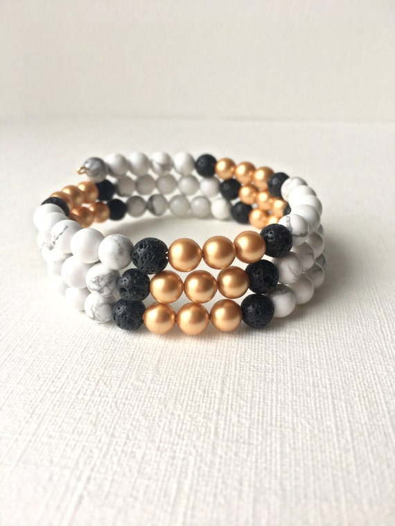 Essential Oil Diffuser Wrap Bracelet -  Memory wire bracelet -Black lava rock with gold and white howlite beads