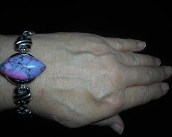 Arizona hot pink and purple turquoise bracelet