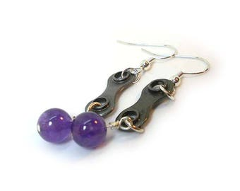Amethyst Earrings, precious stone chain link upcycled bike part handmade earrings. Great gift for cyclist or anniversary gift.