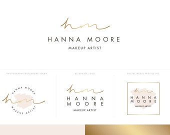 Gold Logo Design Branding Package with Initials for Makeup Artist or Creative Business inc Photography Logo Watermark Stamp in Blush Pink