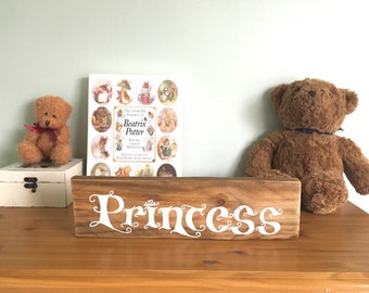 Princess bedroom decor. Wood sign. Reclaimed wood. Handpainted.