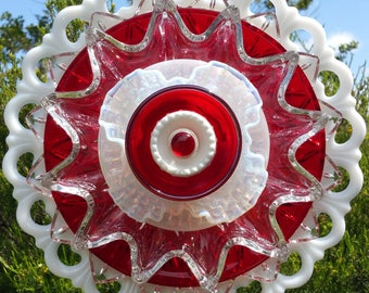 Red Art Glass Flower, Outdoor Decor, Glass Flower Garden Art, Yard Art Decoration, Unique Suncatcher, Garden Gift, Patio,  Lin Moon Designs