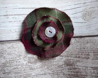 Tartan flower brooch-Handmade Brooch-Fabric Brooch-Tartan Corsage-Scottish Brooch