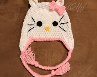 Crochet Hello Kitty inspired Earflap Hat
