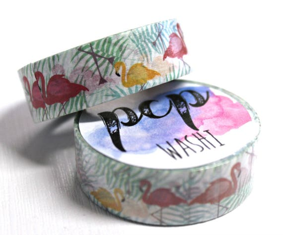 Washi Tape - Flamingo Washi Tape - Tropical Washi Tape - Paper Tape - Planner Washi Tape - Washi - Decorative Tape - Deco Paper Tape