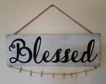 Blessed picture holder, 8 mini clothes pins included