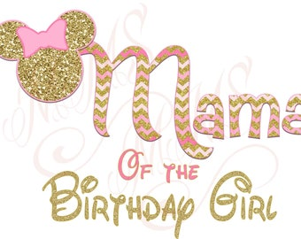 Mama Minnie Mickey Mouse Mom Birthday Girl Shirt DIY Iron On Digital Art Little Sister Matching Pink Gold Pregnancy Announcement
