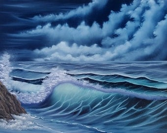 """Oil Beach Painting Seascape """"stormy night"""" on 16x20 canvas in Bob Ross Style"""