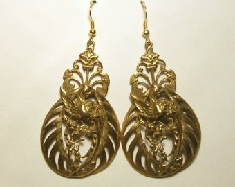 Gold Griffin Earrings Vintage Rare Mythical Bird Huge Statement Brass Numbered