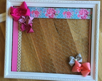 Hair Bow Holder, Shabby Chic Decor, Hairbow Holder, Hair Bow Board, Headband Holder, HairClip Holder, Bow Organizer, Frame