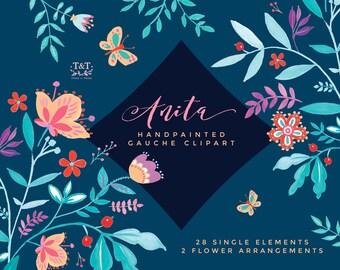 Digital Flower Clipart - Anita. Hand-painted Gauche Graphics