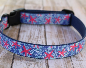 Starfish Dog Collar - Personalized Dog Collar - Nautical Dog Collar - Preppy Dog Collar - Starfish Dog Leash - Starfish Dog Harness