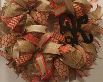 Monogram Wreath, Red and Flaux Burlap Wreath, Everyday Wreath, Housewarming Wreath, Burlap Wreath