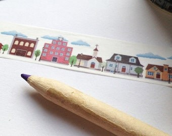 Small Houses / Town Washi Tape  15mm x 10m