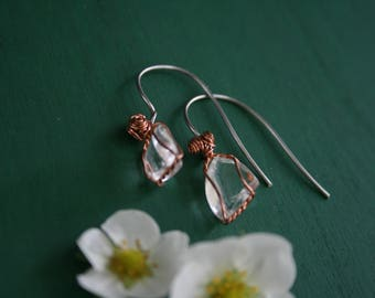 simple clear quartz and copper earrings
