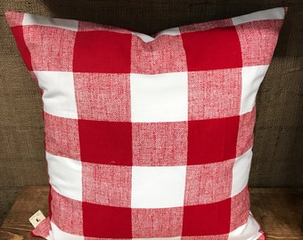 Red and White Checked Pillow Cover