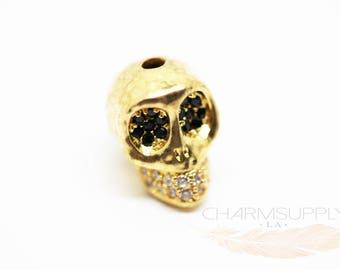 CZ Encrusted Skull Bead