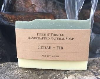 Cedar + Fir Soap, Natural Soap, Vegan Soap, Palm Free Soap, Handmade Soap, Cold Process Soap