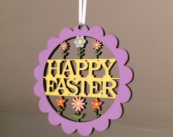 A handpainted wooden Easter decorations or bunting. First easter, easter tree, easter bunny, personalised