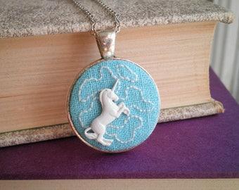 Modern Unicorn Necklace - Embroidered Clouds & White Unicorn Pendant - Cloud Embroidery Necklace - Magic Unicorn Fantasy Fiber Art Jewelry
