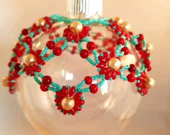 Handcrafted Ornament/Shawl Japanese Seed Beads, Preciosa Twin™ Pressed Twin, Czech pressed glass, Glass Pearls