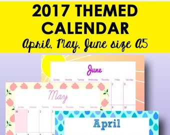 Calendar Printable, 2017 Planner Printable Calendar, 2017 Monthly Planner Pages A5, April, May, June Calendars, A5, Instant Download